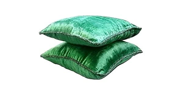 Beaded Throw Pillow Cover Emerald green