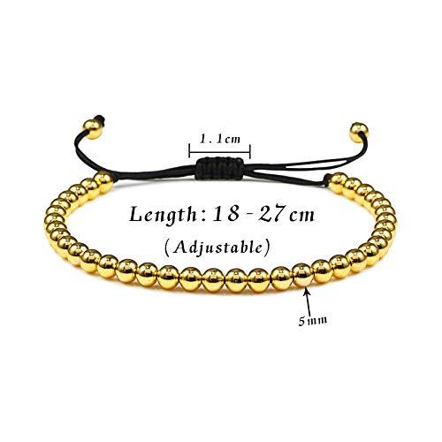 Imagen de pulseras cuentas de 5 mm bolas trenzado macrame charm pulsera con cuentas brazaletes cuerda ajustable joyería hombres mujeres pulseira masculina joyería alternativa