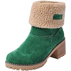 QUICKLYLy Botas de Nieve Mujer,Botines para Adulto,Zapatos Otoño/Invierno 2019 Zapatillas/Calzado Piel Cuero Botín Corto Tacon Ancho(Verde,42CN)