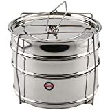 Embassy SS Cooker Separator H6.5 Suitable For 5 Litres Prestige Deluxe Plus Outer Lid Pressure Cookers (3 Containers With Lifter, Stainless Steel)