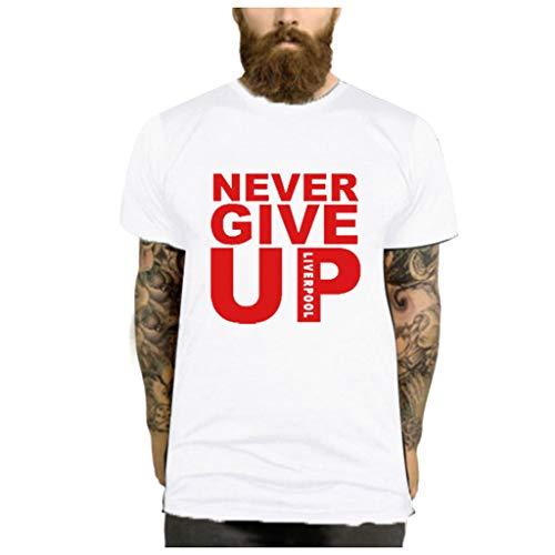 Herren Kurzarm, Lustige Vintage Tumblr T-Shirts Mann Kurzarm Sommer Mädchen T Shirt Frauen Bedrucktes T-Shirt NIE AUFGEBEN - Kurzarm Damen Herz Shirt Mode
