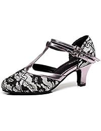 JSHOE Zapatillas De Baile Para Mujer Zapatos Cerrados De Baile Con Cordones En Punta Zapatos De Baile Latino Salsa...
