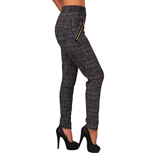 Business Karo Stretch Hose breiter Bund Treggings Leggings Reißverschluss Karo 99843