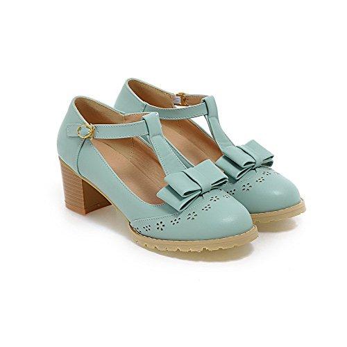 Couro Rodada Voguezone009 Senhoras Pu Médio Azuis Toe Bombas Sapatos Salto Fivela qHtw4