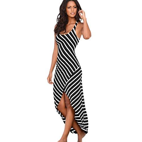 Damen Kleid,Binggong Frauen beiläufiges Sundress Schulterfrei Sleeveless Stripes lösen langes Unregelmäßig Strand Kleid Sommerkleid Abendkleid Partykleid (Sexy Schwarz, S) -