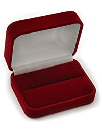 Luxury Burgundy Red Velour Wedding Two Ring Box