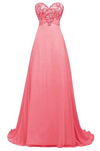 Bbonlinedress Robe de cérémonie Robe de soirée emperlée forme empire bustier en cœur longueur ras du sol Corail