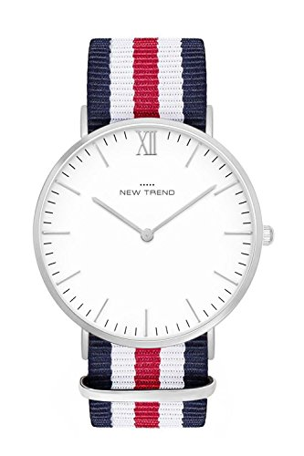 New Trend Unisex Armbanduhr Damen-Uhr Herren-Uhr, Analog Display, Quarzwerk, Leder-Armband, klassische Zeigeruhr mit Dornschließe und römischer Ziffer