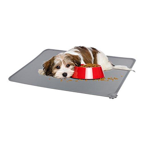 """Preisvergleich Produktbild Emooqi Katzen Matte Silikon rutschfest Hund Matte, FDA-Klasse Tiernahrung Matte Haustier Platzdeckchen Haustier-Futter-Matte für Den Hund Welpe Cat 18.5 """"x 11.5"""", Grau"""