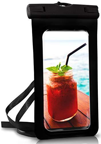 te Handy-Hülle für Samsung S Reihe | Touch- & Kamera-Fenster + Armband und Schlaufe zum Umhängen, Schwarz (Ocean-Black) ()