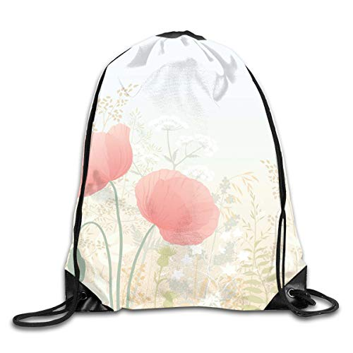 EELKKO Drawstring Backpack Gym Bags Storage Backpack, Wild Poppy Blooms with Herbs Twigs Leaves Grass Growth Nature Rural Morning Scenery,Deluxe Bundle Backpack Outdoor Sports Portable Daypack -
