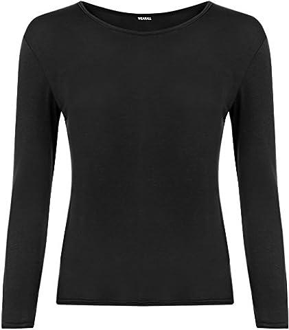 Ladies Long Sleeve T-Shirt Top Womens - Black - 12 / 14