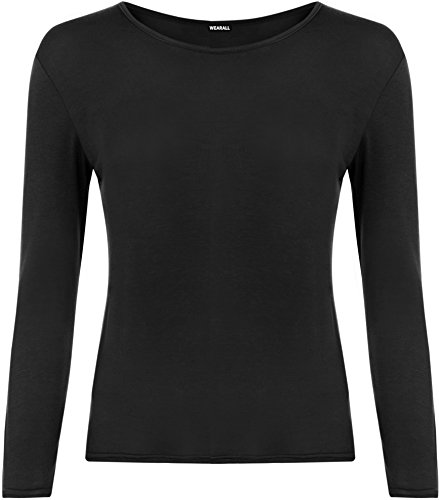 Ladies Long Sleeve T-Shirt Top Womens - Black - 12 / 14