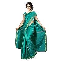 فستان ساري من الحرير الصناعي بتصميم باناراسي تقليدي هندي للنساء من كيه او سي، فستان من القماش زمرد قياس واحد