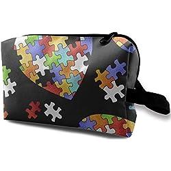 Coloré Conscience De L'autisme Puzzle Pièces Coeur Multifonction Cas Trousse De Toilette Maquillage Voyage Trousse De Maquillage