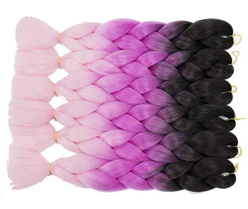 Onetreeombre - extension per capelli sintetici in kanekalon yaki, lisce, 6 pezzi, colore: nero/viola/rosa chiaro