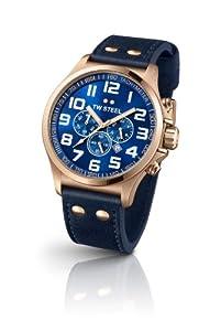 TW Steel TW406 - Reloj cronógrafo unisex, correa de cuero color azul de TW Steel
