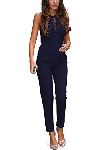 Miss Floral - Combinaison - Sans Manche - Femme Noir Noir 34 Bleu