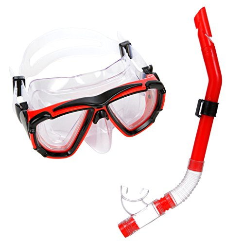 Jucarvo Schnorchel-Set mit Tauchermaske und Schnorchel Wasser Tauchen Schnorchel Maske Gear Sports Profi Tauchmaske Dry Schnorchel Set Kinder für Jugendliche und Erwachsene Rot