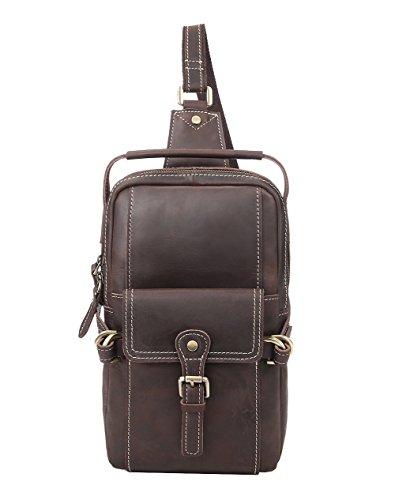 Genda 2Archer Leder Schulter Brust Tasche Beiläufige Handtasche (Braun) Braun