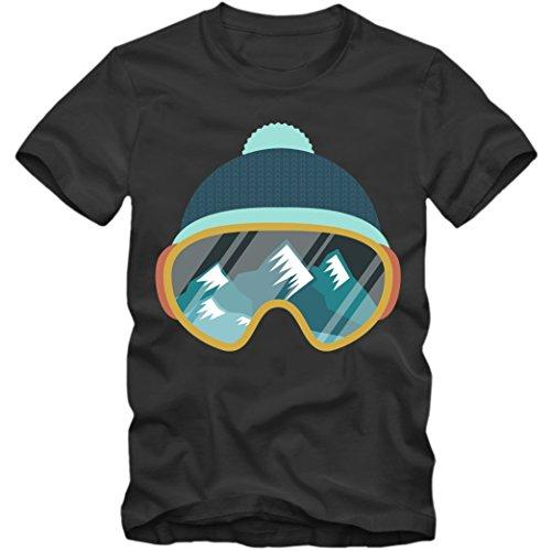 Ski Snowboard T-Shirt Wintersport Herrenshirt Skifahren Schnee Skibrille 3-5XL, Farbe:dunkelgrau (Dark Grey);Größe:M