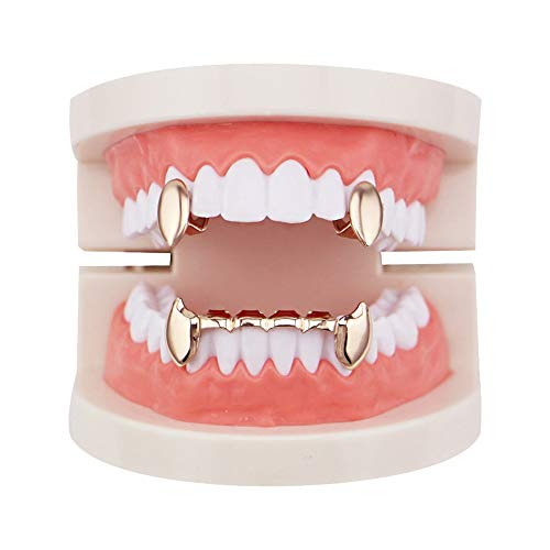 Gold Grill Kostüm - LIE Luxuriöses Gold überzogenes Hip Hop Bling Zahn Set 2 Stück Single Top Vampire Fangs & Bottom Grill Zähne Kappen - Hochglanz für Erwachsene Kostüm Party Zubehör (Farbe : Roségold)