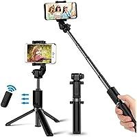 Bovon Bastone Selfie , Selfie Stick Bluetooth 3-in-1[Mini Treppiedi Stabile+Monopiede Wireless +Supporto Telefono] con Telecomando Rimovibile per lo Smartphone e la Fotocamera (Schermo:5.5-8.5cm) Nero