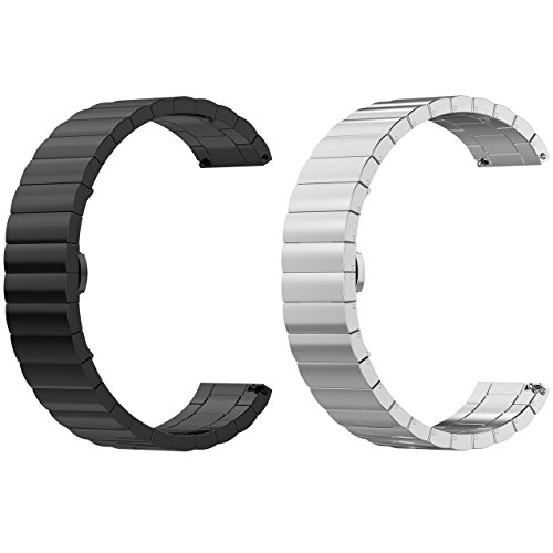 ECSEM Replacement 2pcs Premium Solid Stainless Steel Watch Bands Metal Straps Bracelets - Choices of Color & Width (22mm) -1beads (Black+Silver) (Pebble Steel Metal Watch Band)