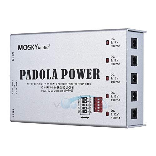 Pedal-Netzteil, DC 9 V 12 V 18 V Effektpedal mit 5 isolierten Gitarren-Pedal-Netzteil, Padola-Power-Interner Transformator blue -