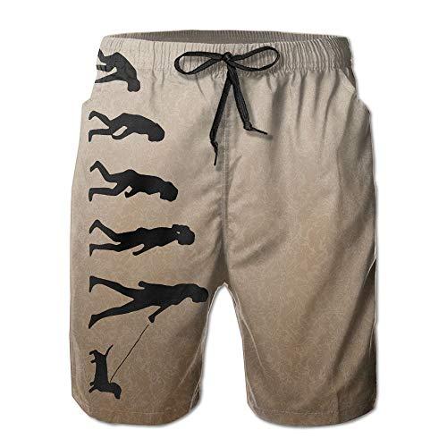 Nicegift Ladies Evolution of Dachshund Mens Summer Casual Shorts Board Shorts with Pockets XXL