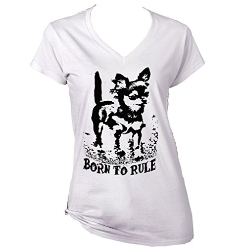 Teesquare1st Women's CHIHUAHUA BORN TO RULE PB 15 White T-Shirt Size XXLarge