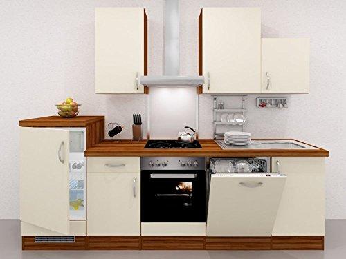 Küchenzeile 280 cm Creme mit Geräten und Demischrank – Sienna
