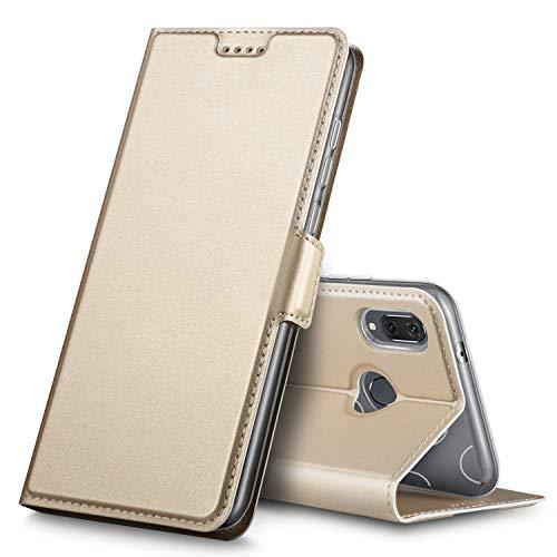 Huawei P20 Lite Hülle, Huawei Nova 3e Hülle, iBetter Premium Tasche Cover Flip Case [Magnetic Closure] [Standfunktion] Schutzhülle Handyhüllen für Huawei P20 Lite/ Huawei Nova 3e Smartphone(Gold)