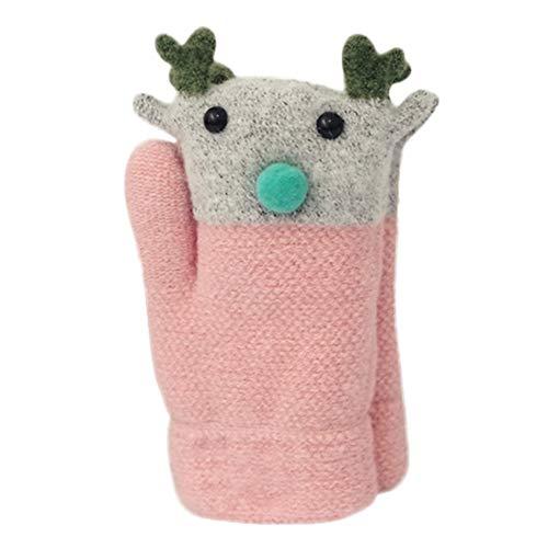 Preisvergleich Produktbild sunnymi für 2-8 Jahre Baby Niedlich Weihnachten Handschuhe Verdicken Nähen Winter Warme Straps (Rosa C, 16cm)