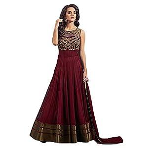 Salwar Suit (Lovisa Fashion Women's Net Semi-stitched Salwar suit (Copper_All) (Maroon)