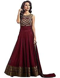 Pramukh Fashion Women's Net Gown with Jacket (Coper Maroon)