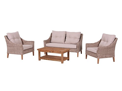 Bukatchi Luxus FSC Recycled Teakholz Poly Rattan Lounge Baltimore inkl. Kissen