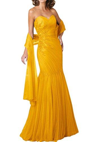 Gorgeous Bride Fashion Herzform Meerjungfrau Lang Tuell Mit Stola Abendkleid Festkleid Ballkleid Gelb
