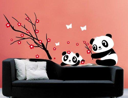 Fun Goo - Adhesivo para dormitorio infantil con diseño de osos pandas (70 x 50 cm), color blanco y negro