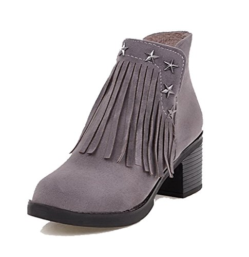 VogueZone009 Womens Zipper High Heels Imitated Suede Solid Round Closed Toe Boots