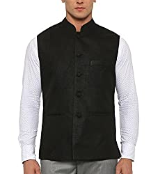 Shaftesbury London Mens Cotton Nehru Jacket (NJc7-42, Black, 42)