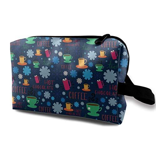 Coffee Winter Pattern Magic Makeup Bag Lazy Cosmetic Bag Portanle Travel Handbag Blue Moon Coffee