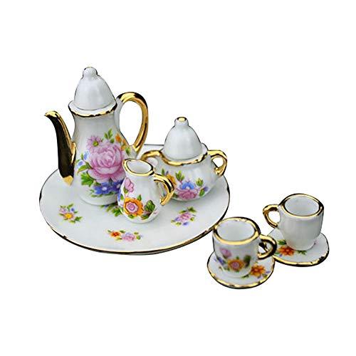 HShyxlkj Miniatur-Teekanne aus Keramik in Form eines Puppenhauses - Master-schlafzimmer-möbel-sets