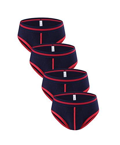 Nuofengkudu Herren Jungen Männer Mode Slips 4er Pack Baumwoll Soft Shorts Briefs Tanga Atmungsaktiv Unterhose Unterwäsche Hipster Retropants NavyRot Größe S