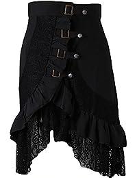 7477010dc Women's Steampunk Gothic Skirt Gypsy Hippie Black Lace Punk Irregular Dress  Plus Size