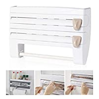 Kitchen Roll Dispenser for Foil Cling Film and Paper Towel, lesgos Triple Paper Dispenser Wall Mounted Cling Film Tin Foil Towel Paper Holder Rack 4-in-1(White)