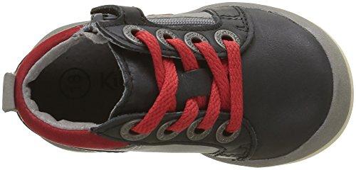 Kickers Gowin, Chaussures Premiers Pas Bébé Garçon Noir (Noir/Gris/Rouge)