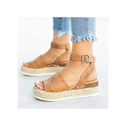 TRFLH& Wedges Shoes Women Espadrilles High Heels Sandals Summer Shoes 2019 Flip Flop Chaussures Femme Platform Sandals Plus Size 43 Brown 8.5 Leopard Vamp Denim