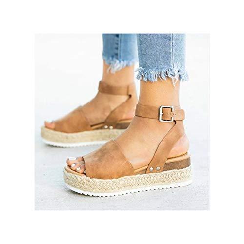 TRFLH& Wedges Shoes Women Espadrilles High Heels Sandals Summer Shoes 2019 Flip Flop Chaussures Femme Platform Sandals Plus Size 43 Brown 8.5 - Leopard Vamp Denim