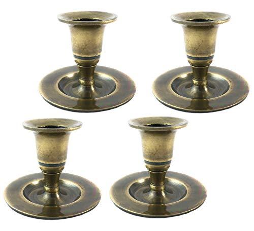 Marzoon 4 x Klassik Kerzenleuchter mit Tellerfuß im Set/Kerzenständer für Stabkerzen in Antik Gold, Höhe 5,5cm (Gold - Design 5)